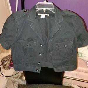 Victoria Secret Crop Casual Button Up Jacket Sz 8